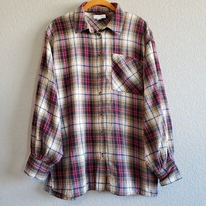 Topshop | 100% Cotton Button Down Plaid Flannel